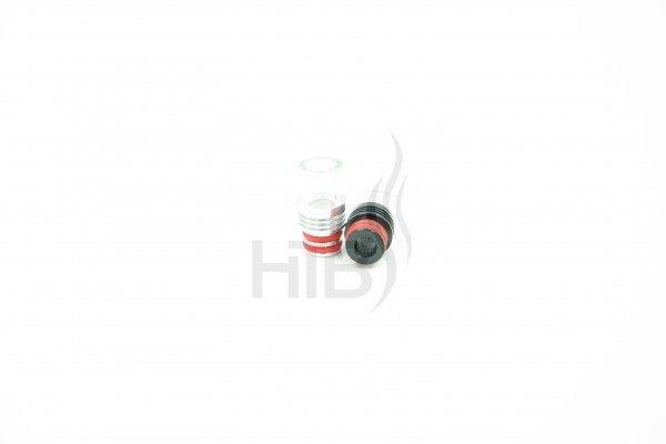 Alu+Glas DripTip, silber o. schwarz/rot